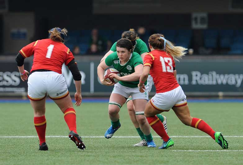 Munster's Ciara Griffin (on the attack against Wales) was another regular in the Ireland Women's side this campaign. ©INPHO/Ian Cook