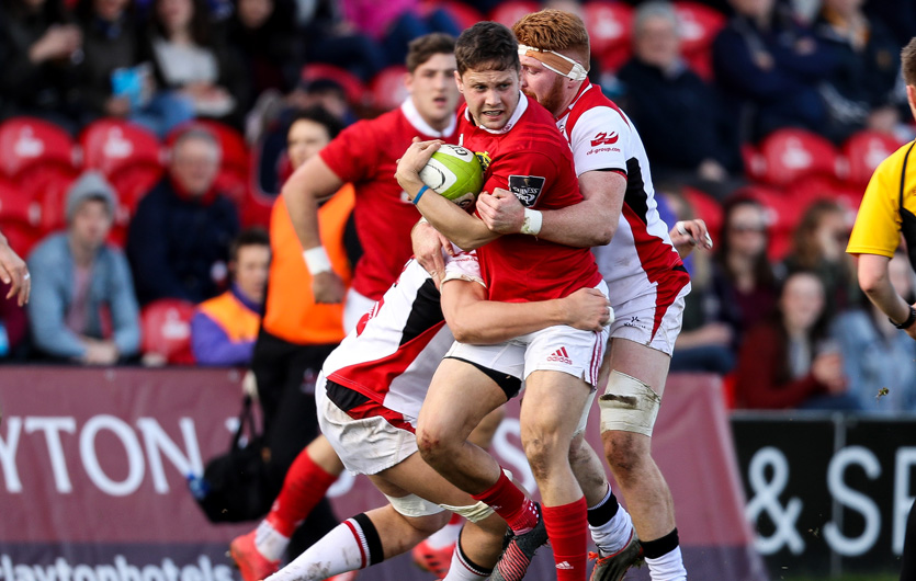 Dave Johnston makes the hard yards in Munster A's quarter final win over Ulster A.
