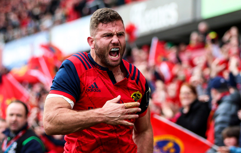Jaco Taute touches down in Munster's pool win over Glasgow Warriors at Thomond Park