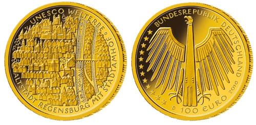 100 Euro Gold 2016 Altstadt Regensburg Briefmarken Großheide Osnabrück