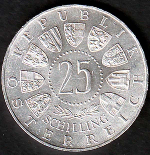 österreich 25 Schilling Carlauer Von Welsbach 1958 800er Silber