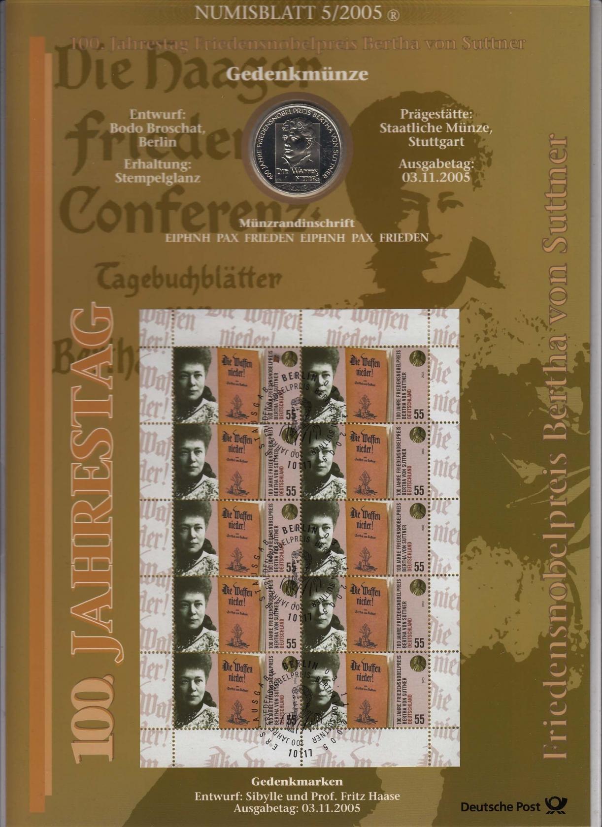 Bund Numisblatt 2005 5 Bertha Von Suttner 1000 Euro Briefmarken