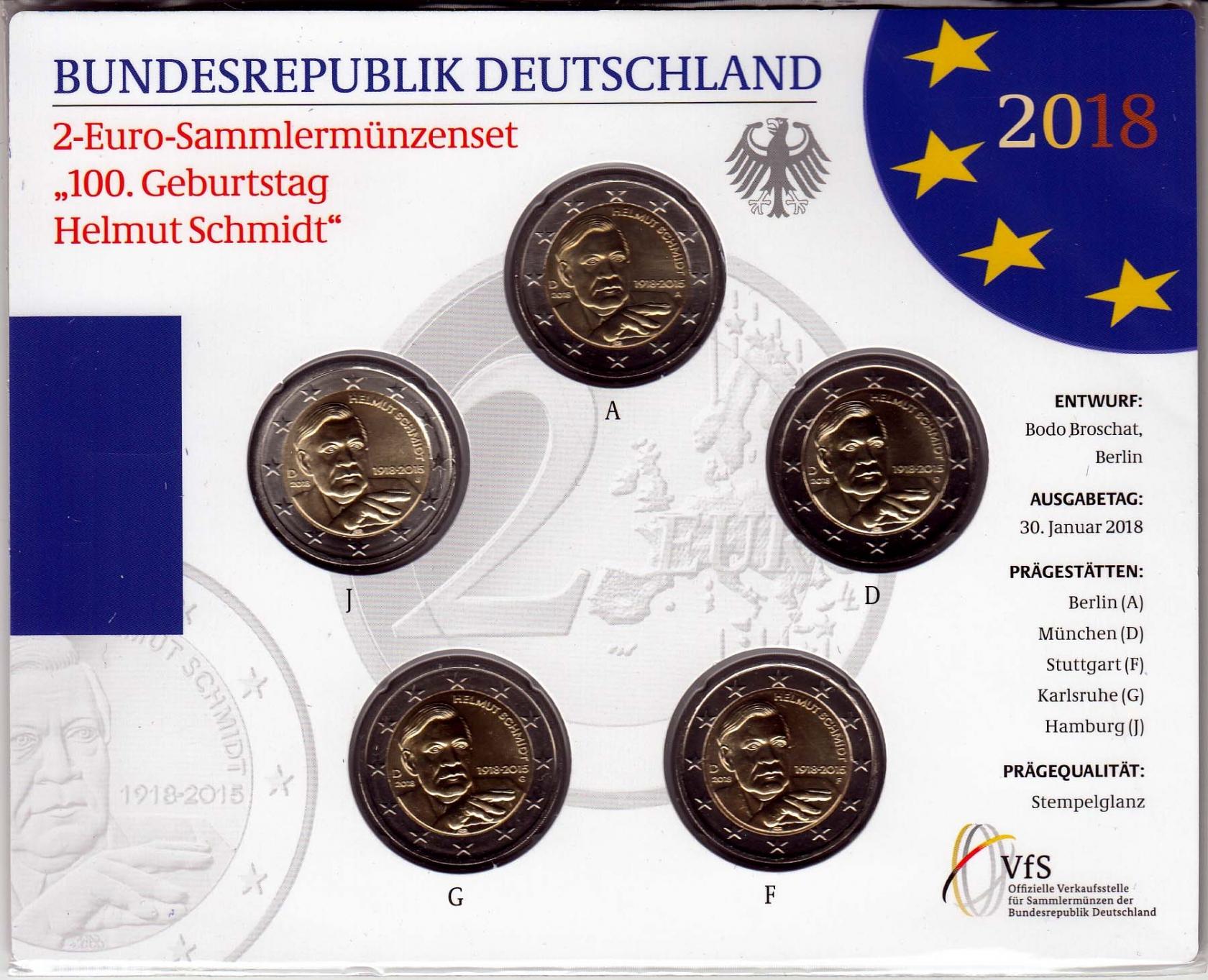Bund 2 100 Geburtstag Helmut Schmidt 2018 Münzset Marktplatz