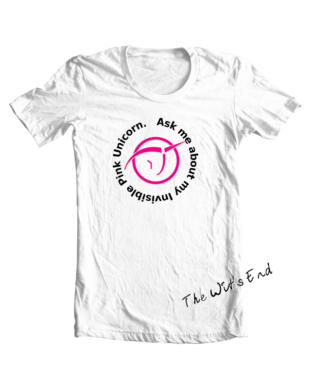 Ask Me About My Invisible Pink Unicorn tee shirt example (with IPU symbol)