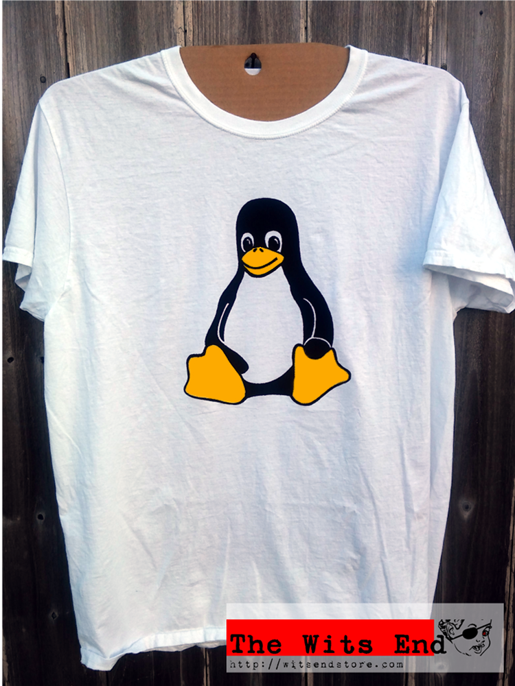 Linux Tux mascot tee shirt hand screened