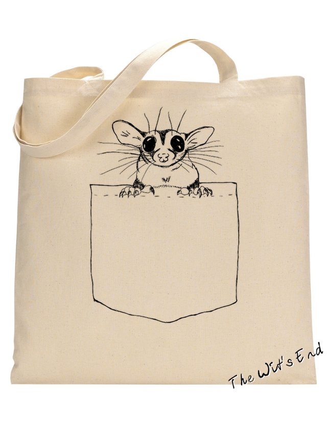 Pocket Glider on canvas tote - sugar glider on tote example tote