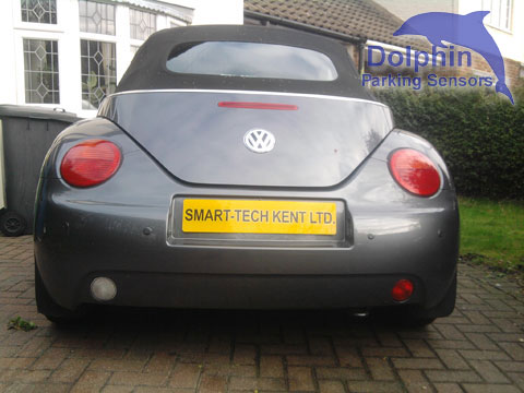 VW Beetle with parking sensors installed in the rear bumper