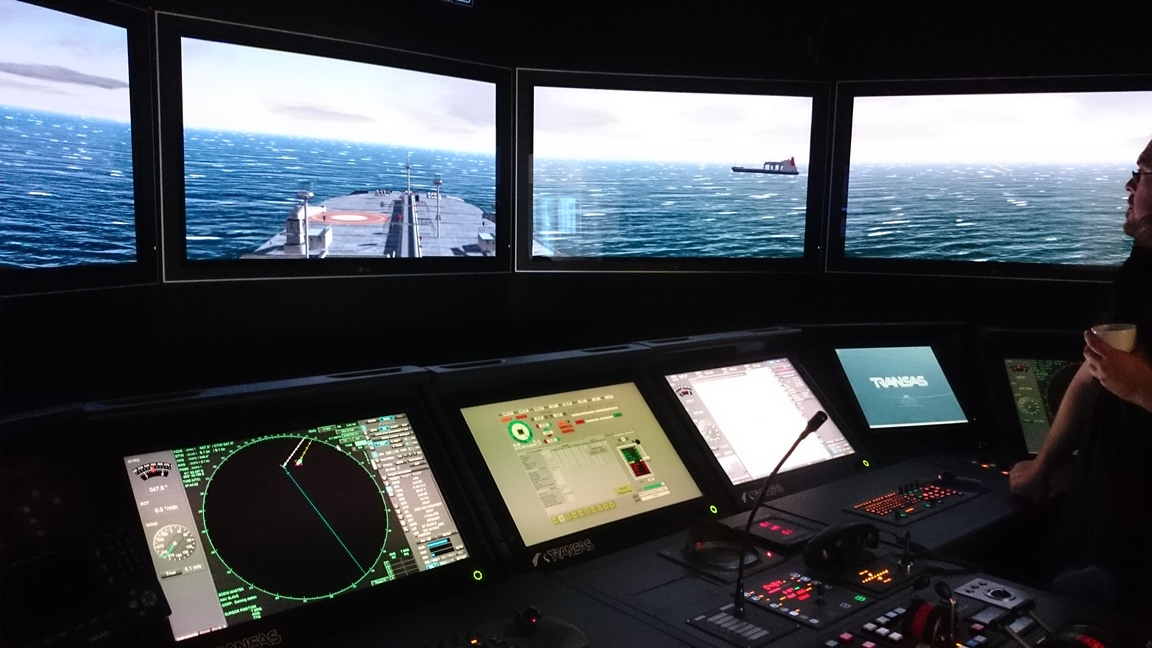 Gothenburg Transas bridge simulator looking at overtaking a vessel controlled in the Kongsberg bridge simulator in Gijon.