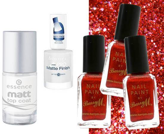 matte and glitter  nail polishes