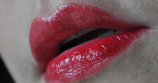 YSL swatch on lip