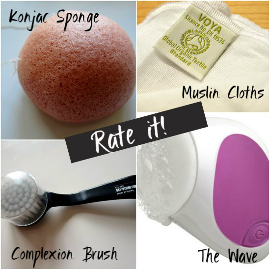 Complexion brush, Neutrogena wave, Konjac Sponge, Muslin Cloths