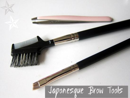 Japonesque Tweezers, Pro Brow and Lash Comb, Pro Angled Brow Definer brush