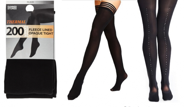 From left: Dunnes 200 Denier Fleece Tights €8, M&S 40 Denier Body Sensor Opaque Hold-Ups €8, M&S Autograph 60 Denier Body Sensor™ Opaque Tights Made With Swarovski Elements €35