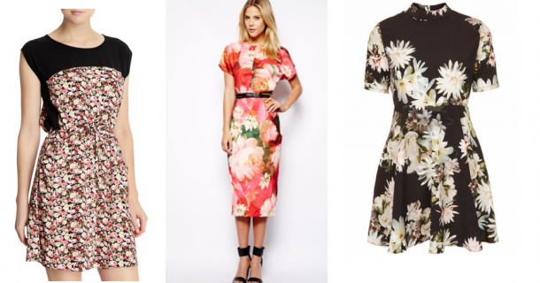 Floral Print: Dunnes Solid Yoke Dress €25, Ted Baker Longer Length Dress in Bright Floral Print €238, Topshop Printed High Neck Skater Dress €60