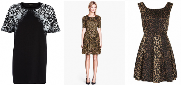 Animal Print: River Island Leopard Print Oversized T-Shirt Dress €25, H&M Patterned Dress €29.95, Topshop Leopard Print Dress By Wyldr €25