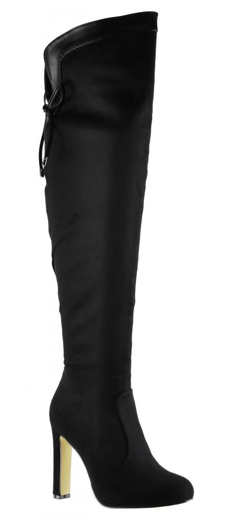 Sol City - Kiera Over the Knee High Heel Black Boots