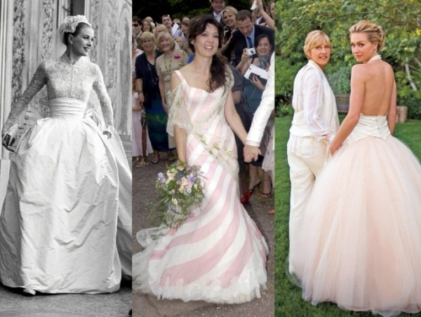 Top 20 celebrity wedding dresses of all time for Portia de rossi wedding dress