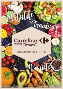 """Carrefour Gourmet flyer """"everything's changed except the prices"""""""