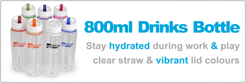 800ml Bowe Transparent Plastic Drinks Bottle