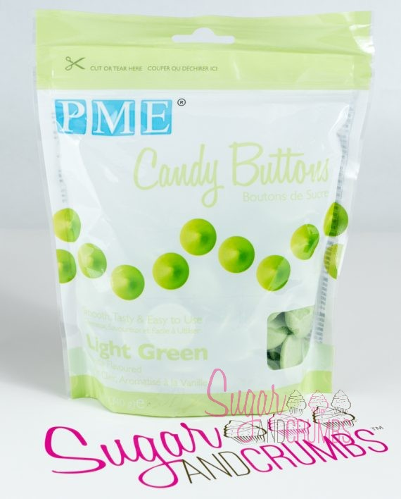 Pme Candy Buttons Light Green 340g Sugar And Crumbs