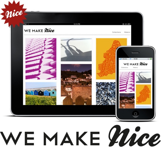 The We Make Nice logo, icon and homepage mocked-up on an iPad and iPhone
