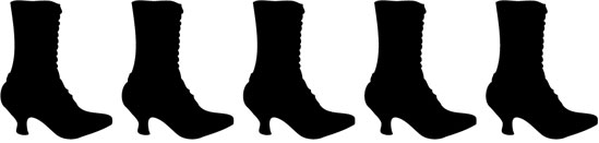 Repeating silhouette of Victorian-style ladies' boots