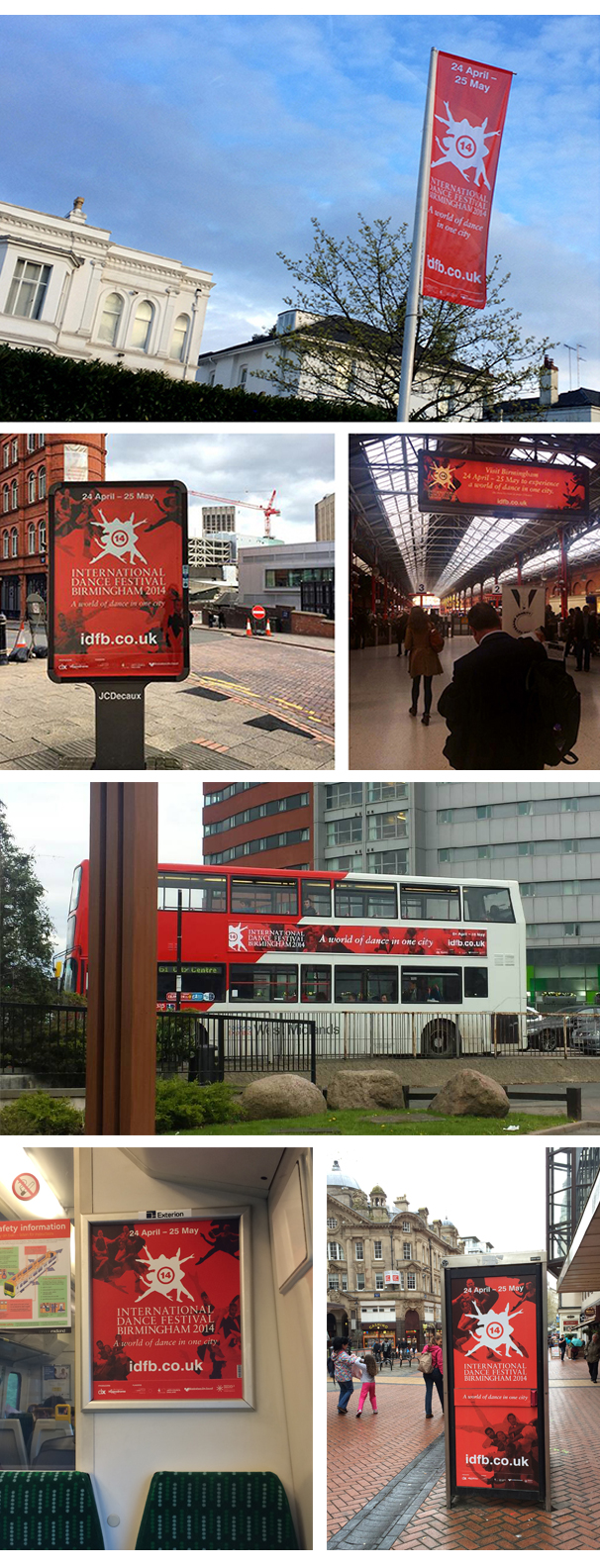 Photos of various bits of IDFB outdoor promotion – flag, poster, banner, bus, train, phonebox
