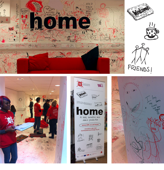 Home at The Hub - scribbles on the walls