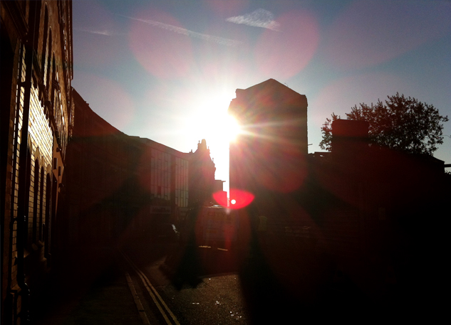 View along Legge Lane, Jewellery Quarter, at sunset
