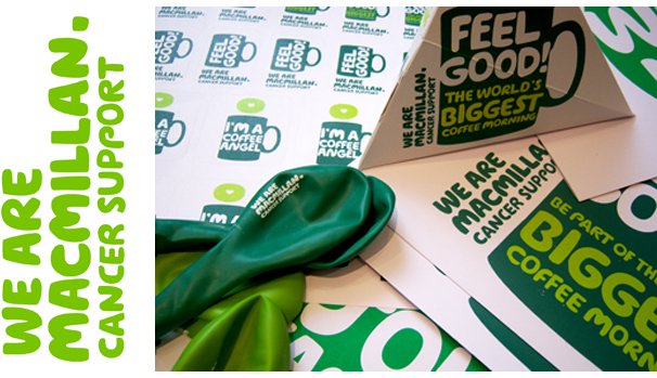 Macmillan Cancer Care logo, and photos of fundraising kit which includes a sticker pack, collection box and branded balloons