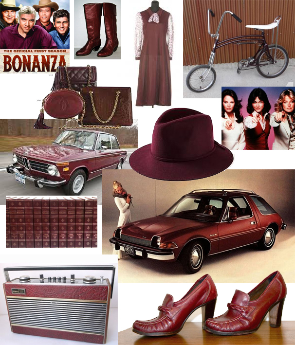 Seventies-tastic images of clothing, bike, radio, cars – all 'marsala' coloured