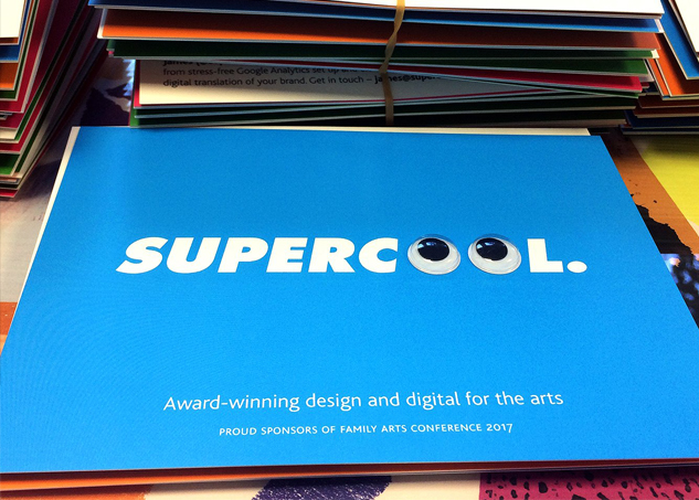 Supercool postcard – sponsors fo Family Arts Conference 2017