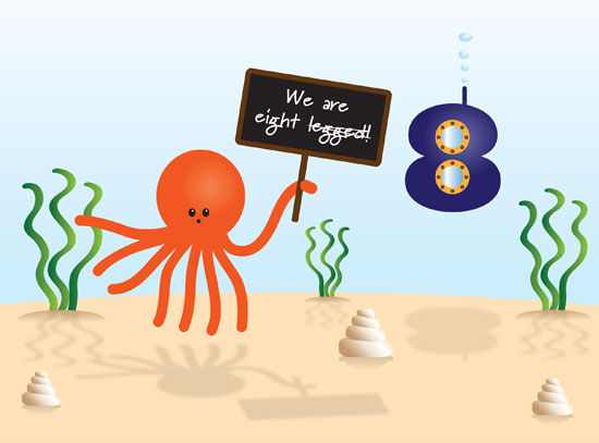 8th birthday celebration image, with an octopus and eight-shaped underwater vessel