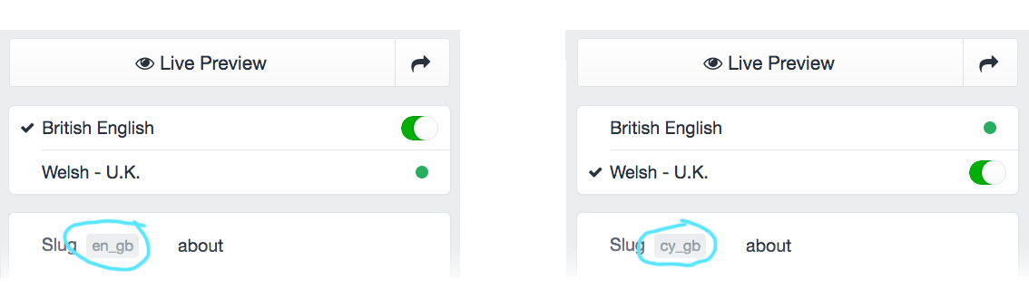 Screengrabs of the CMS control panel showing the simple lightswitch to jump between English and Welsh language versions of content