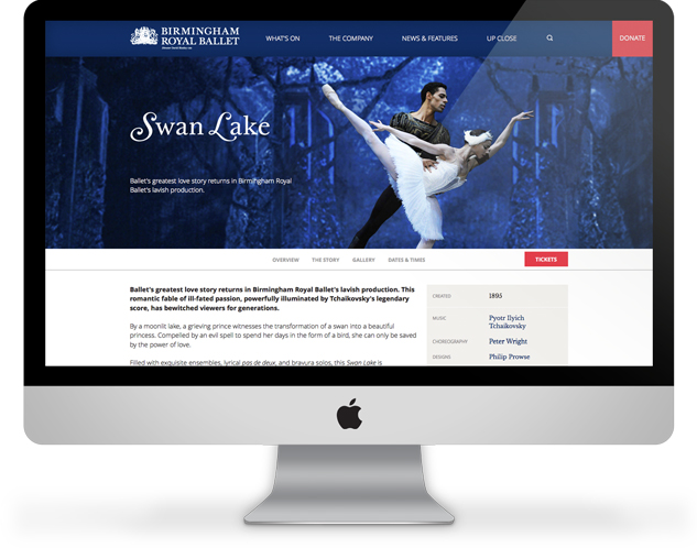 Birmingham Royal Ballet website homepage on a desktop computer