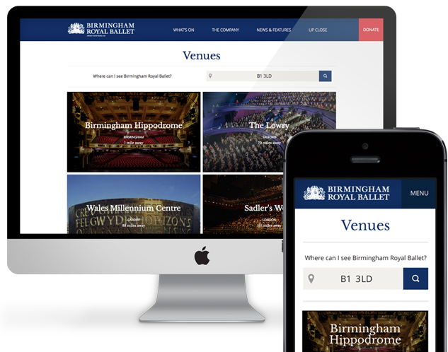 Birmingham Royal Ballet's 'venue locator' tool, on desktop and mobile screens