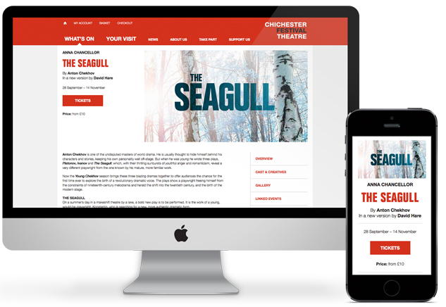 Desktop and mobile views of Chichester Festival Theatre's production of Chekov's The Seagull