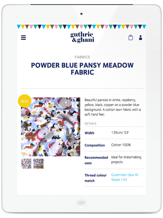 Guthrie & Ghani website on tablet – fabric product page