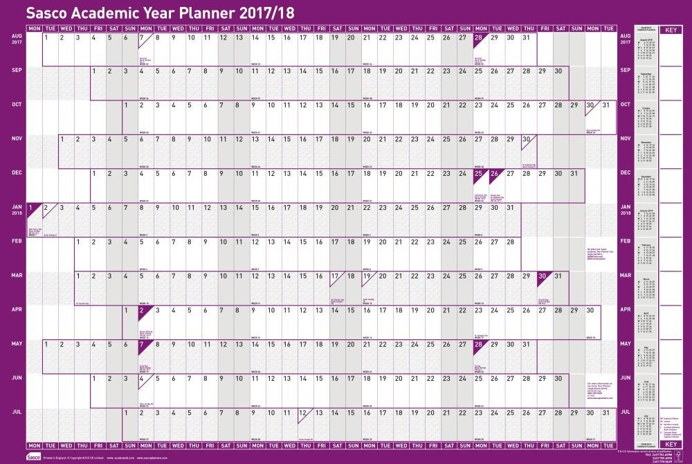 academic year planner 2018 17