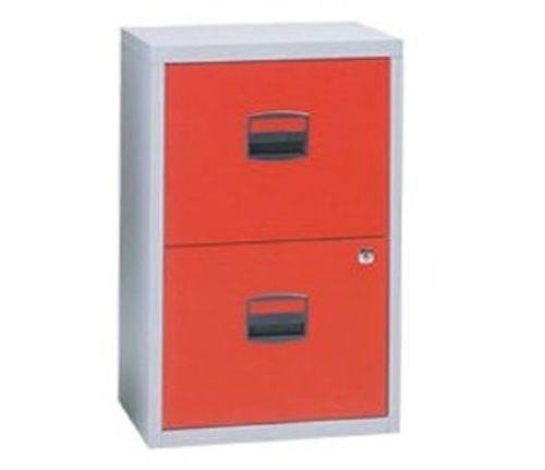 Bisley Two Drawer Steel Home Filing Cabinet Orange File2: Bisley Home Office A4 Metal Filing Cabinet 2 / 3 Drawer