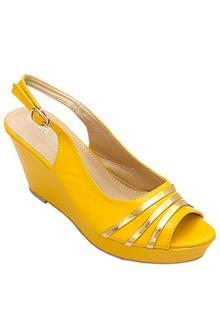 Luck Bella Yellow Leather Ladies Wedge Sandal
