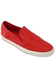 Hzb Red Leather Men Sneakers