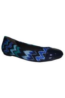 Pretty Pumps Navy/Green Denim Ladies Flat Shoe In Marks n Spencer