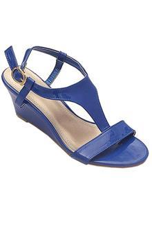 Nine Weet Blue Leather Ladies Wedge Sandal