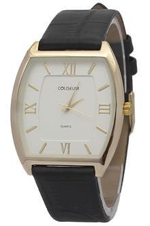 Coliseum Gold Black Flat Leather Mens Watch