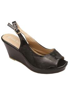 Luck Bella Patent Black Leather Ladies Wedge Sandal