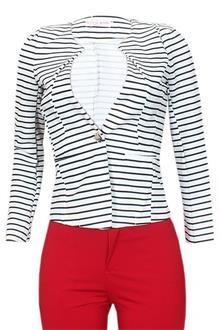 Fashion Black White Long Sleeve Ladies Cotton Jacket
