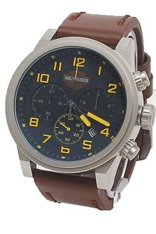Harley Davidson Silver Yellow Design Brown Leather Men Watch