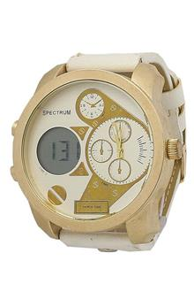 Spectrum White Leather Digital-Analog Mens Watch