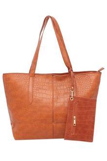 Fashion Brown Leather Ladies Handbag Wt Purse